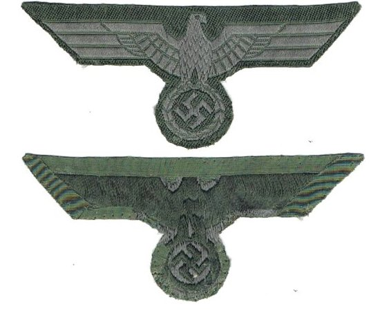 GC2148. WEHRMACHT BREAST EAGLE, bevo, grey on green