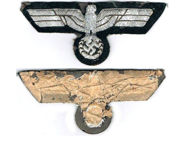 GC2164. WEHRMACHT BREAST EAGLE, silver wire, minor insect damage