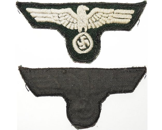 GC2159. WEHRMACHT BREAST EAGLE, field made, grey cotton woven