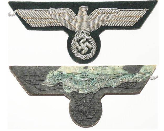 GC2163. WEHRMACHT BREAST EAGLE, silver wire woven on green