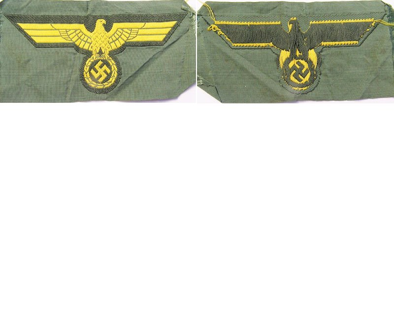 GC2167. KRIEGSMARINE BREAST EAGLE, bevo, yellow on green