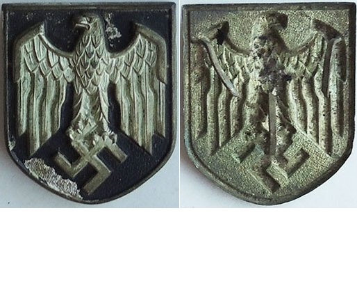 GC2204. WEHRMACHT TROPICAL HELMET EAGLE SHIELD, 95% black paint