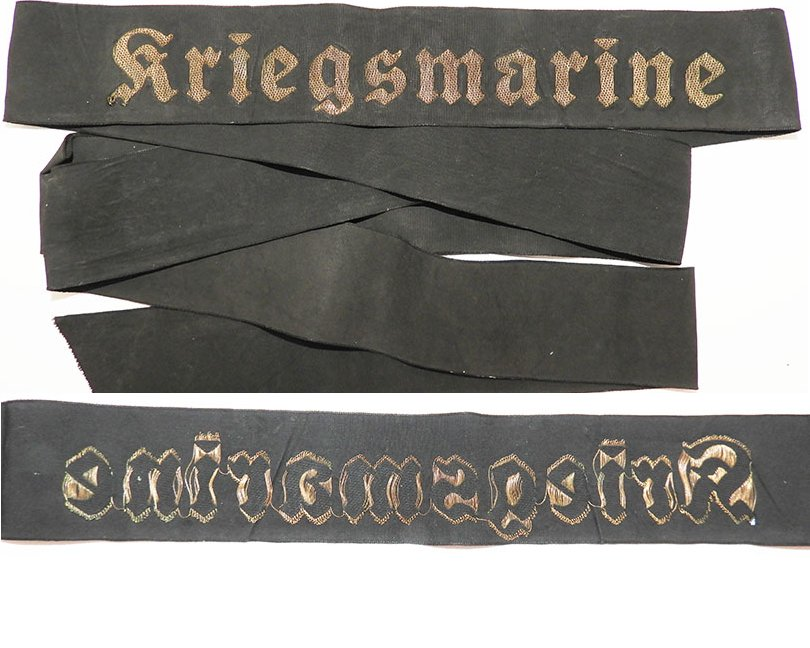 GC2373. KRIEGSMARINE CAP TALLY, gold wire woven on black silk