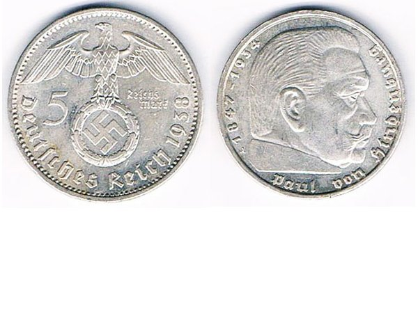 GC2607. GERMANY 5 REICHSMARK COIN, 1936, 1937 or 1938