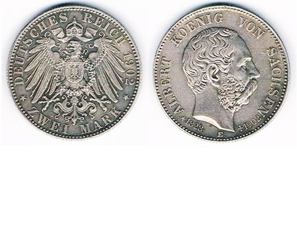 GC2608. GERMANY 2 REICHSMARK COIN, State of Saxony, 1902