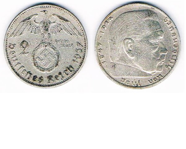 GC2609. GERMANY 2 REICHSMARK COIN, 1937 OR 1939