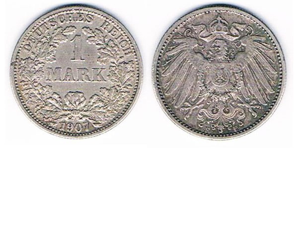 GC2610. GERMANY 1 REICHSMARK COIN, silver, 1907 or 1910