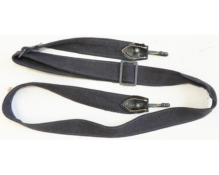 LW1361. LUFTWAFFE BREAD BAG STRAP, blue/grey with leather ends
