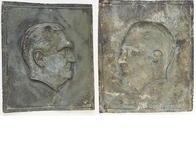 LW1357. WWII PLAQUE EMBOSSED WITH HERMAN GORING'S HEAD