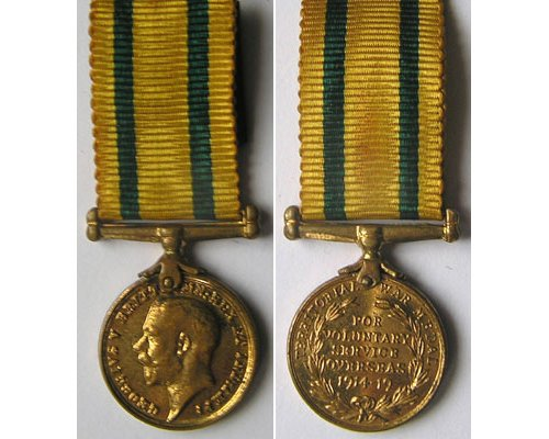 MIN1298. Miniature Territorial Forces War Medal 1914-19