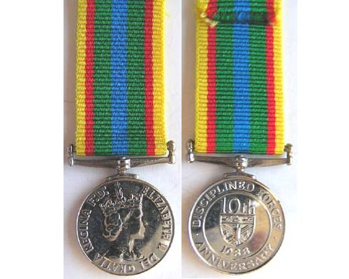 MIN1796. Miniature Disciplined Force 10th Anniversary Medal 1988