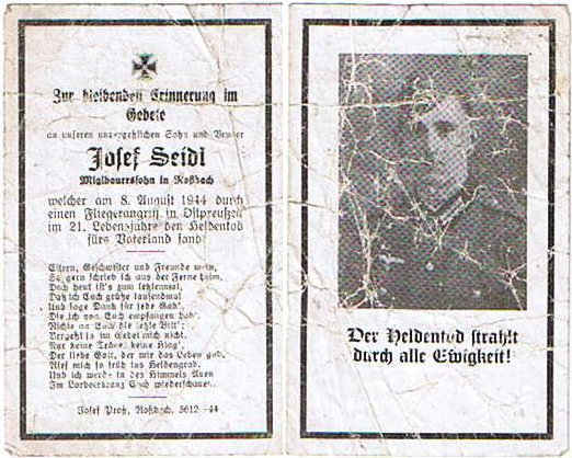 NS1652. Soldat Josef Seidl, killed air raid East Prussia 8/8/44