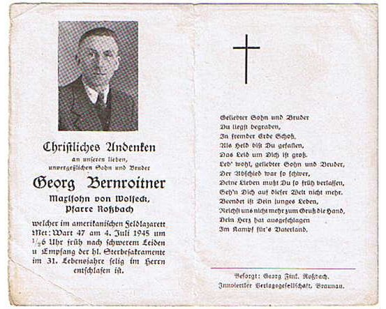 NS1664. Georg Bernroitner, died US Field Hospital July 1945