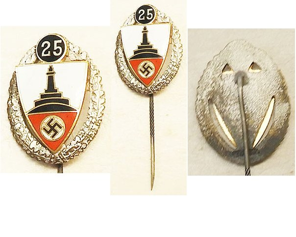 PIN022. GERMAN WAR VETERANS 25 YEARS PIN