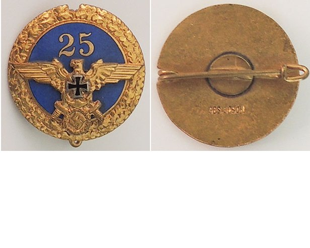 PIN023. WAR VETERANS 25 YEARS PIN, round gilt & blue enamel badg