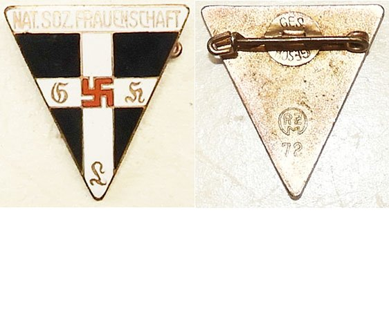 PIN041. DEUTSCHES FRAUENSCHAFT small size triangular lapel badge