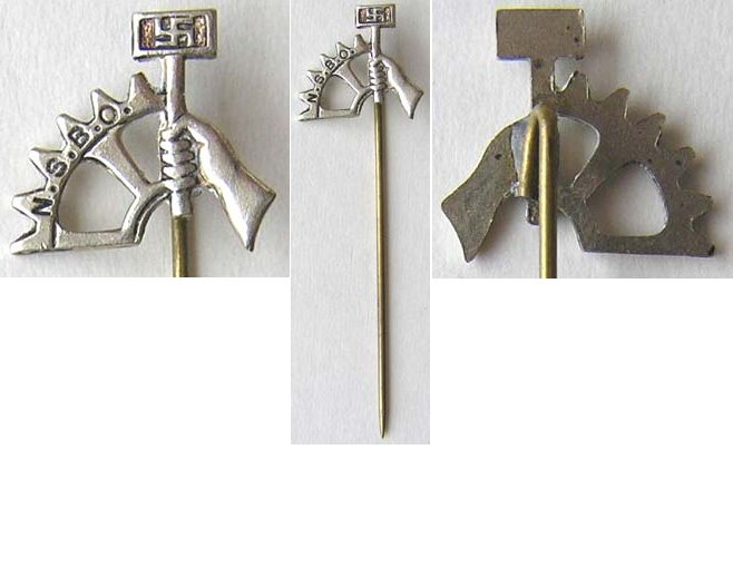 PIN043. NSBO STICK PIN, pressed silvered metal