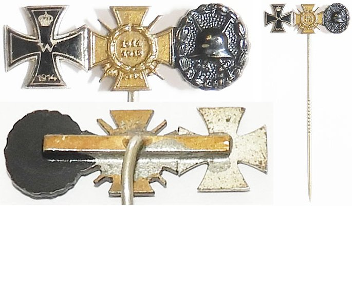PIN072. IRON CROSS 1914 enamel, GROUP OF THREE on stick pin