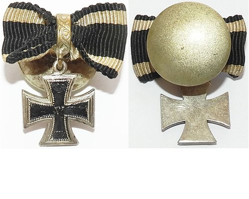 PIN073. IRON CROSS 2nd Class 1914 on buttonhole disc with ribbon