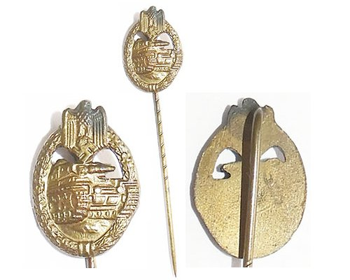 PIN076. PANZER ASSAULT BADGE STICK PIN, in bronze