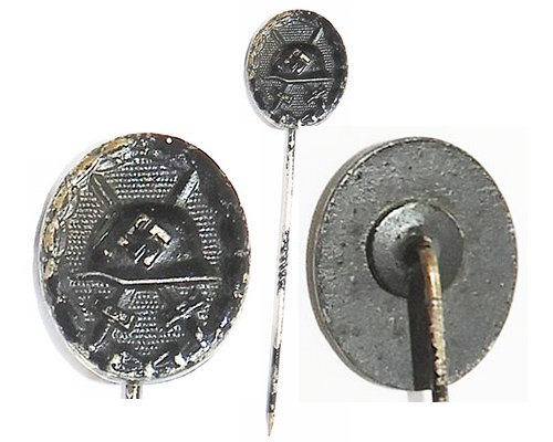 PIN077. 1939 WOUND BADGE IN BLACK, stick pin reverse