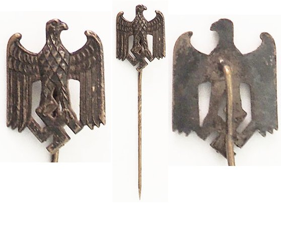 PIN079. WEHRMACHT EAGLE STICK PIN, with folded wings