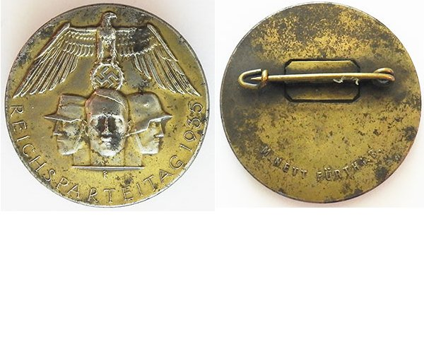 PIN221. REICHSPARTEITAG 1935, silvered metal, maker M.Nett