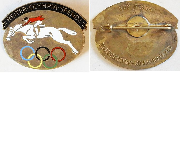PIN258. REITER-OLYMPIA-SPENDE, 1936 Olympic Games riding badge