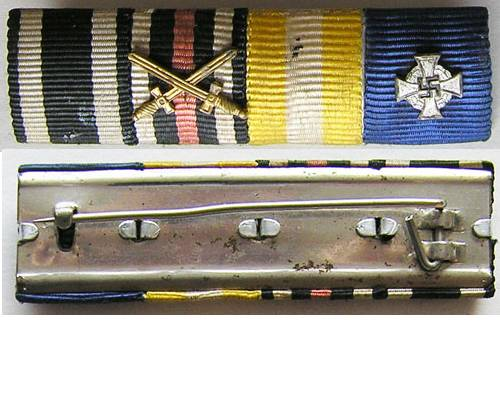 RB005. IRON CROSS 1914 / NAZI FAITHFUL SERVICE MEDAL BAR OF FOUR
