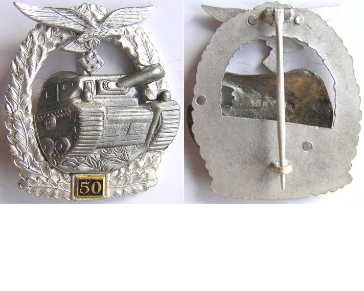 RS026. LUFTWAFFE PANZER ASSAULT BADGE for 50 engagements