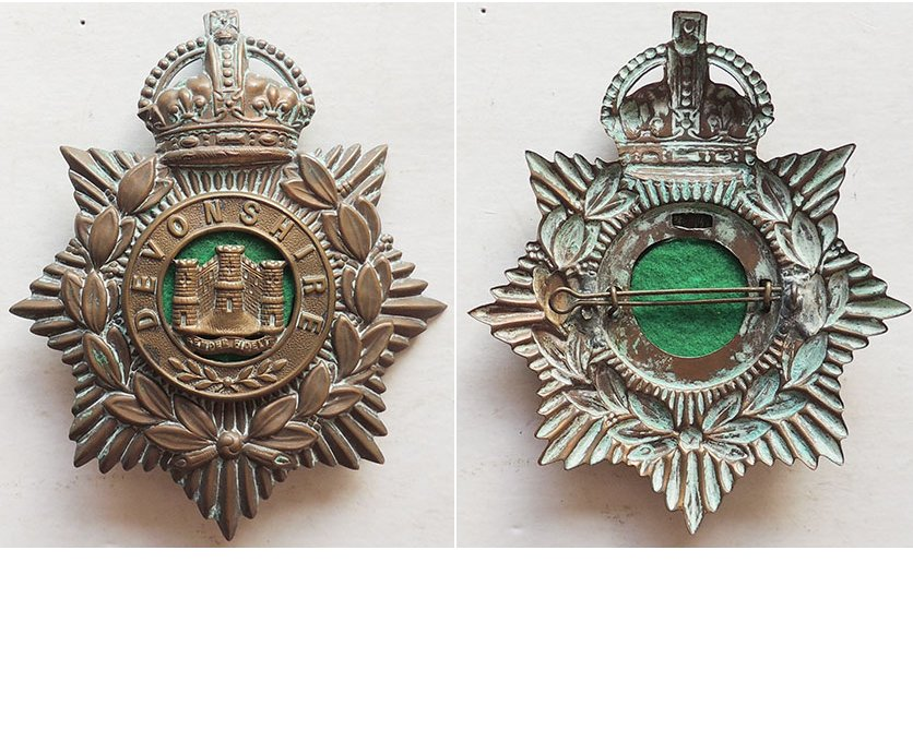 UKB1004. DEVONSHIRE REGIMENT, other ranks helmet plate