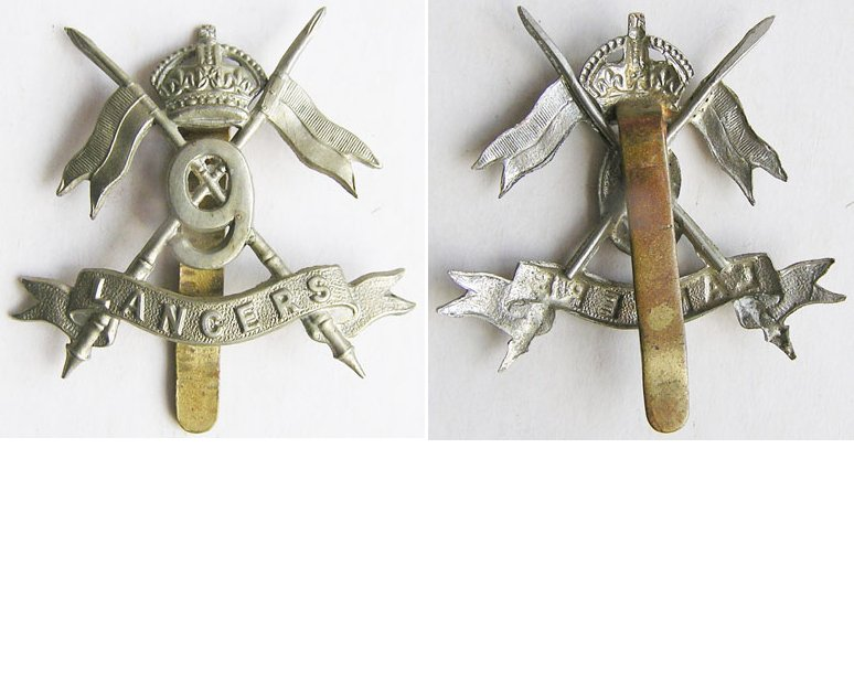 UKB1228. 9th LANCERS, cap badge, KC white metal