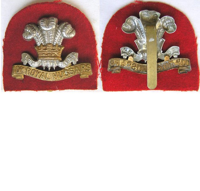 UKB1230. 10th ROYAL HUSSARS, cap badge, KC bi-metal