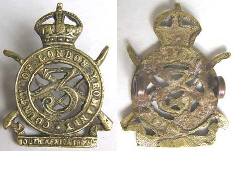 UKB1300. 3rd BATTALION (COUNTY OF LONDON YEOMANRY), Cast brass