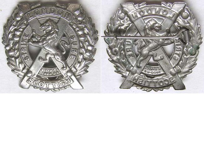 UKB1319. 14th BATTALION (LONDON SCOTTISH) REGIMENT, white metal