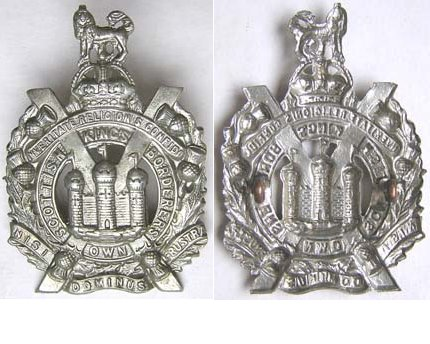 UKB1421. KINGS OWN SCOTTISH BORDERERS white metal cap badge