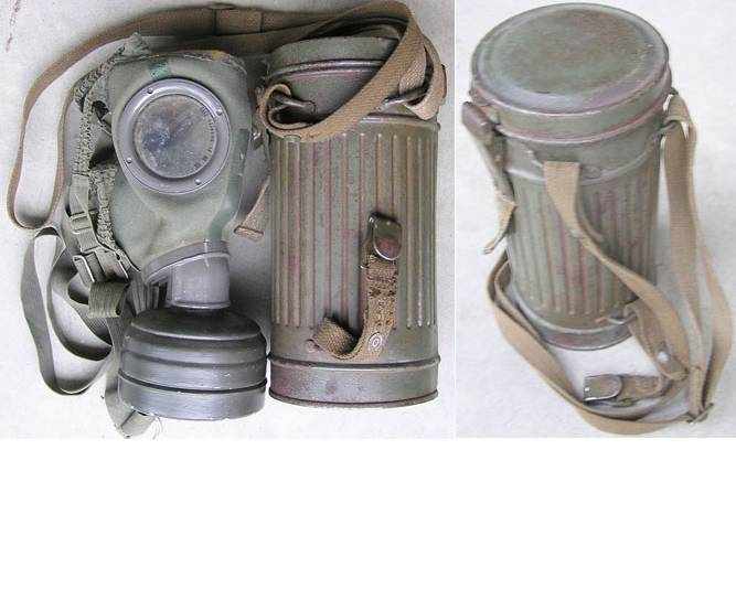WH1293. WEHRMACHT GAS MASK & CANISTER, Tin dated 1936