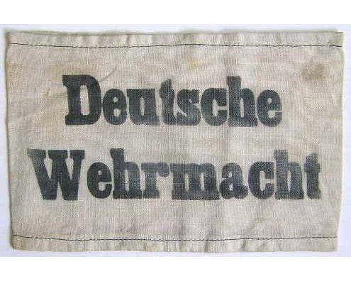 GC2261. DEUTSCHE WEHRMACHT ARMBAND, black printed white cotton